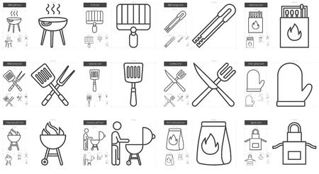 scalable set: Barbecue vector line icon set isolated on white background. Barbecue line icon set for infographic, website or app. Scalable icon designed on a grid system. Illustration
