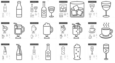 scalable set: Drinks vector line icon set isolated on white background. Drinks line icon set for infographic, website or app. Scalable icon designed on a grid system. Illustration