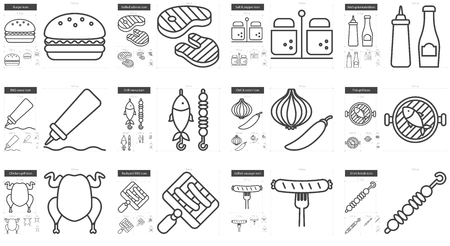 grilled salmon: Barbecue vector line icon set isolated on white background. Barbecue line icon set for infographic, website or app. Scalable icon designed on a grid system. Illustration
