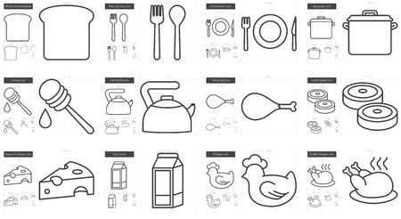 scalable set: Healthy food vector line icon set isolated on white background. Healthy food line icon set for infographic, website or app. Scalable icon designed on a grid system. Illustration