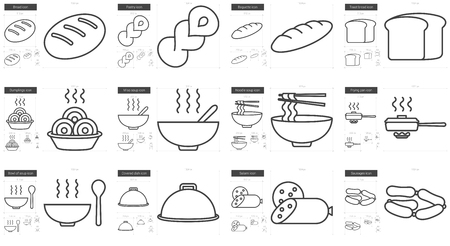 scalable set: Junk food vector line icon set isolated on white background. Junk food line icon set for infographic, website or app. Scalable icon designed on a grid system. Illustration
