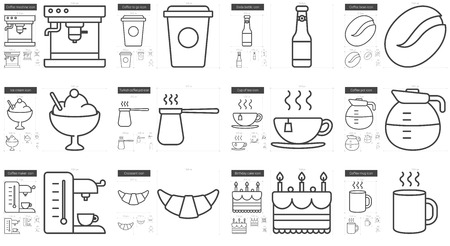 ice tea: Junk food vector line icon set isolated on white background. Junk food line icon set for infographic, website or app. Scalable icon designed on a grid system. Illustration