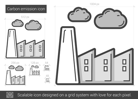 Carbon emission vector line icon isolated on white background. Carbon emission line icon for infographic, website or app. Scalable icon designed on a grid system. Illustration