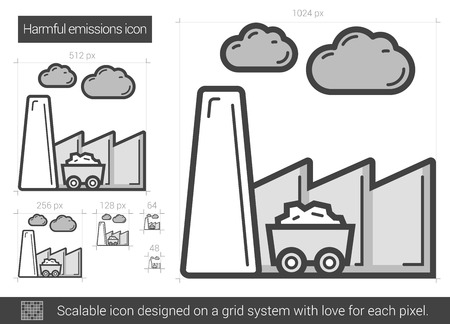 Harmful emissions vector line icon isolated on white background. Harmful emissions line icon for infographic, website or app. Scalable icon designed on a grid system.