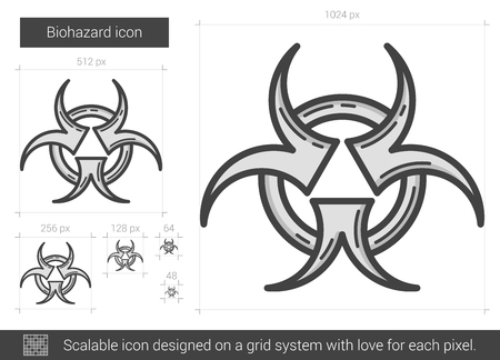 Biohazard vector line icon isolated on white background. Biohazard line icon for infographic, website or app. Scalable icon designed on a grid system.