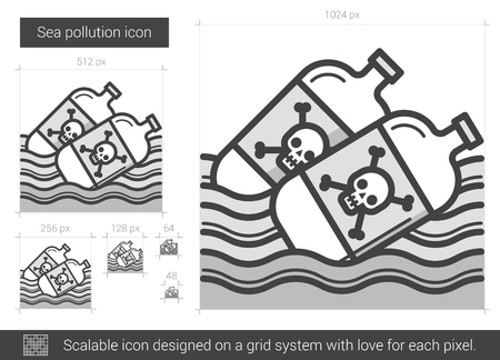 sea disaster: Sea pollution vector line icon isolated on white background. Sea pollution line icon for infographic, website or app. Scalable icon designed on a grid system.