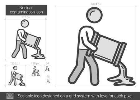 radioactive tank and warning sign: Nuclear contamination vector line icon isolated on white background. Nuclear contamination line icon for infographic, website or app. Scalable icon designed on a grid system. Illustration