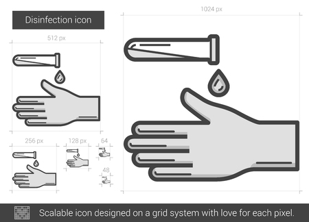 Disinfection vector line icon isolated on white background. Disinfection line icon for infographic, website or app. Scalable icon designed on a grid system. Ilustracja