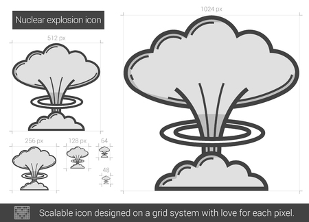 nuclear explosion: Nuclear explosion vector line icon isolated on white background. Nuclear explosion line icon for infographic, website or app. Scalable icon designed on a grid system.