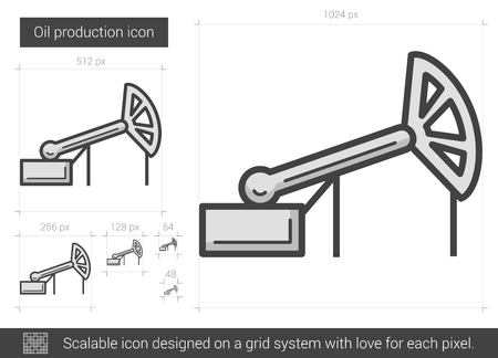 nonrenewable: Oil production vector line icon isolated on white background. Oil production line icon for infographic, website or app. Scalable icon designed on a grid system.