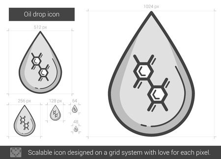 Oil drop vector line icon isolated on white background. Oil drop line icon for infographic, website or app. Scalable icon designed on a grid system.