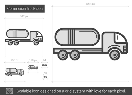 haul: Commercial truck vector line icon isolated on white background. Commercial truck line icon for infographic, website or app. Scalable icon designed on a grid system.