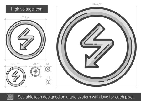 high voltage: High voltage vector line icon isolated on white background. High voltage line icon for infographic, website or app. Scalable icon designed on a grid system. Illustration