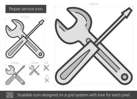 Repair service vector line icon isolated on white background. Repair service line icon for infographic, website or app. Scalable icon designed on a grid system. Illustration