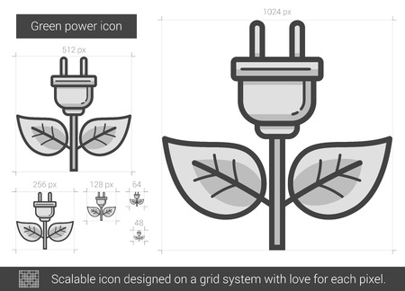 green power: Green power vector line icon isolated on white background. Green power line icon for infographic, website or app. Scalable icon designed on a grid system.