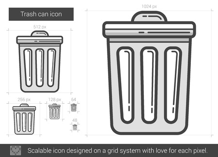 Trash can vector line icon isolated on white background. Trash can line icon for infographic, website or app. Scalable icon designed on a grid system. Vettoriali