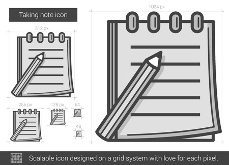 taking notes: Taking note vector line icon isolated on white background. Taking note line icon for infographic, website or app. Scalable icon designed on a grid system.