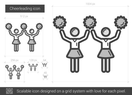 Cheerleading vector line icon isolated on white background. Cheerleading line icon for infographic, website or app. Scalable icon designed on a grid system. Çizim
