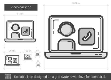 video call: Video call vector line icon isolated on white background. Video call line icon for infographic, website or app. Scalable icon designed on a grid system. Illustration