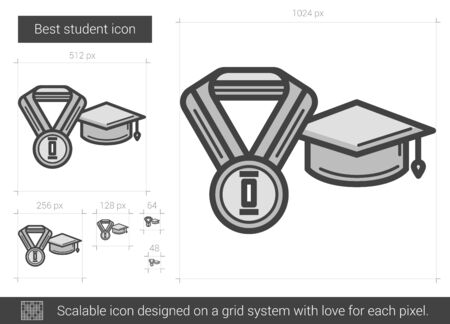 Best student vector line icon isolated on white background. Best student line icon for infographic, website or app. Scalable icon designed on a grid system.