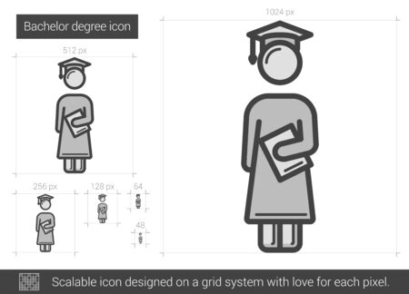 master degree: Bachelor degree vector line icon isolated on white background. Bachelor degree line icon for infographic, website or app. Scalable icon designed on a grid system.