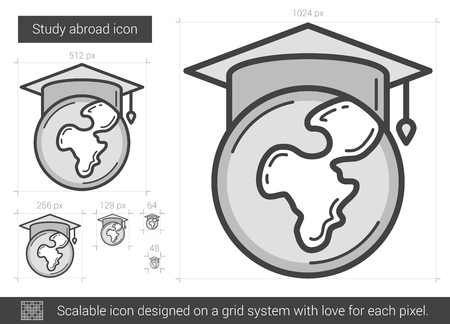 Study abroad vector line icon isolated on white background. Study abroad line icon for infographic, website or app. Scalable icon designed on a grid system. Stock Vector - 68852527