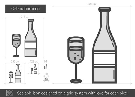 two party system: Celebration vector line icon isolated on white background. Celebration line icon for infographic, website or app. Scalable icon designed on a grid system.