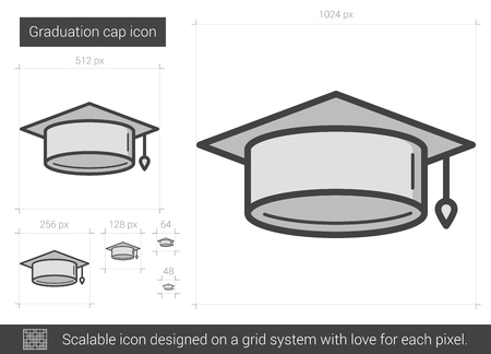 master degree: Graduation cap vector line icon isolated on white background. Graduation cap line icon for infographic, website or app. Scalable icon designed on a grid system. Illustration