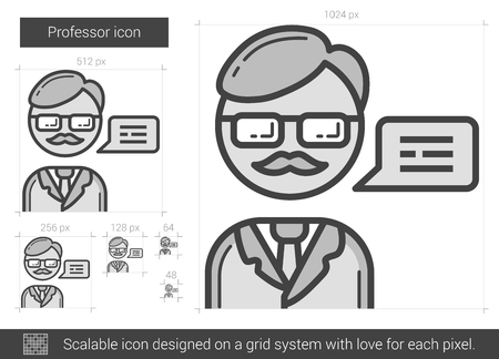 Professor vector line icon isolated on white background. Professor line icon for infographic, website or app. Scalable icon designed on a grid system.  イラスト・ベクター素材