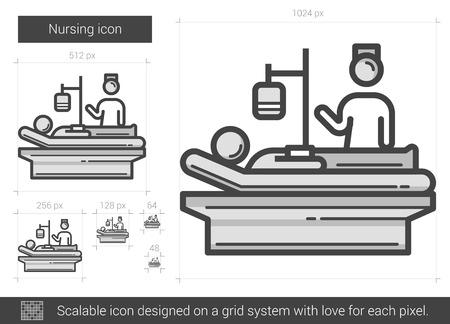 흰 배경에 고립 간호 벡터 라인 아이콘입니다. infographic, 웹 사이트 또는 응용 프로그램에 대한 간호 라인 아이콘. 그리드 시스템에서 설계된 확장 가능 일러스트