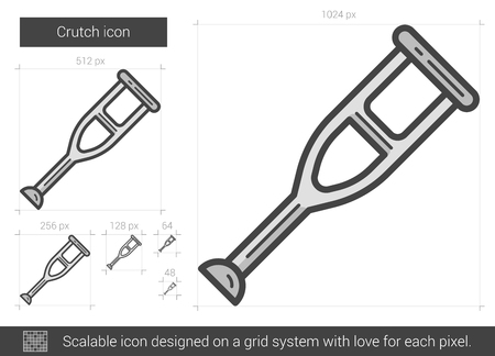forearm: Crutch vector line icon isolated on white background. Crutch line icon for infographic, website or app. Scalable icon designed on a grid system. Illustration