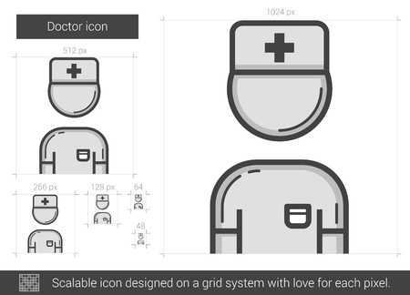 Doctor vector line icon isolated on white background. Doctor line icon for infographic, website or app. Scalable icon designed on a grid system. Ilustração
