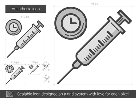 Anesthesia vector line icon isolated on white background. Anesthesia line icon for infographic, website or app. Scalable icon designed on a grid system. Stock Vector - 68852596