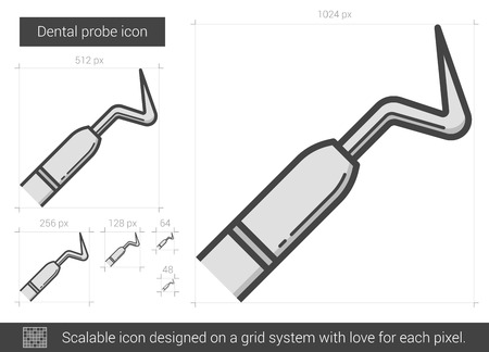 probe: Dental probe vector line icon isolated on white background. Dental probe line icon for infographic, website or app. Scalable icon designed on a grid system.