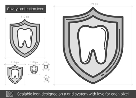 protection line: Cavity protection vector line icon isolated on white background. Cavity protection line icon for infographic, website or app. Scalable icon designed on a grid system.