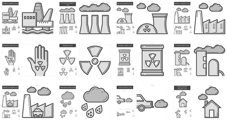 harmful to the environment: Ecology biohazard vector line icon set isolated on white background. Ecology biohazard line icon set for infographic, website or app. Scalable icon designed on a grid system.