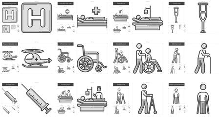 Medicina línea vectorial conjunto de iconos aislado sobre fondo blanco. icono de la línea de medicina conjunto de infografía, sitio web o aplicación. icono escalable diseñada en un sistema de red.