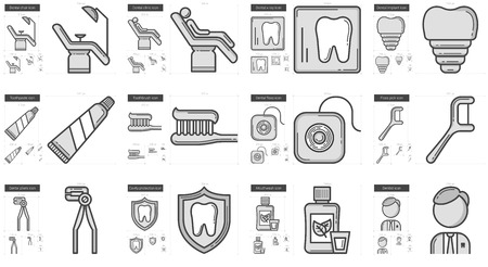 Stomatology vector line icon set isolated on white background. Stomatology line icon set for infographic, website or app. Scalable icon designed on a grid system.