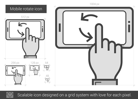 rotate: Mobile rotate vector line icon isolated on white background. Mobile rotate line icon for infographic, website or app. Scalable icon designed on a grid system. Illustration