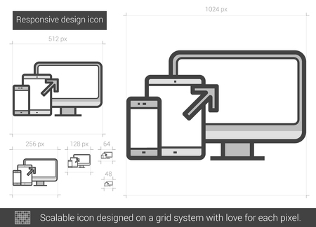responsive: Responsive design vector line icon isolated on white background. Responsive design line icon for infographic, website or app. Scalable icon designed on a grid system.