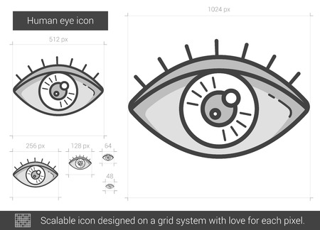 vision loss: Human eye line icon.