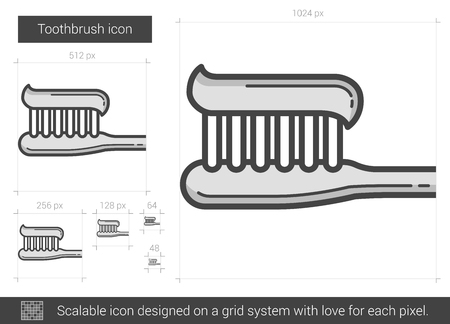 Toothbrush vector line icon isolated on white background. Toothbrush line icon for infographic, website or app. Scalable icon designed on a grid system. Ilustração