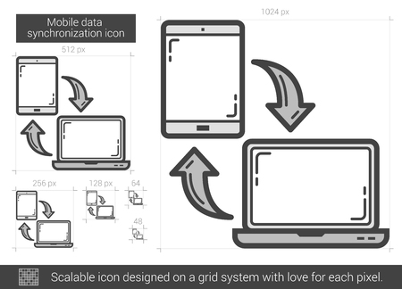 storage device: Mobile data synchronization vector line icon isolated on white background. Mobile data synchronization line icon for infographic, website or app. Scalable icon designed on a grid system. Illustration