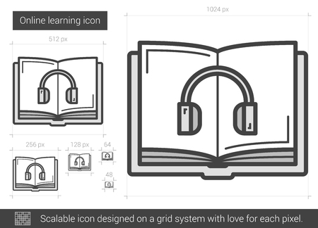 Online learning vector line icon isolated on white background. Online learning line icon for infographic, website or app. Scalable icon designed on a grid system. Illustration