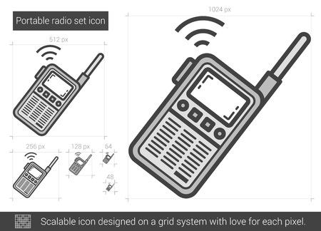 Icône de ligne de radio portable set vector isolé sur fond blanc. Icône de ligne de radio portable pour infographie, site Web ou application. Icône évolutive conçue sur un système de grille. Banque d'images - 68852754
