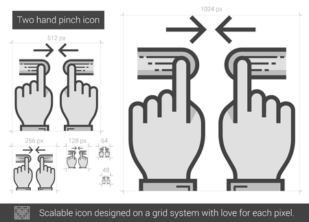 Two hand pinch vector line icon isolated on white background. Two hand pinch line icon for infographic, website or app. Scalable icon designed on a grid system.  イラスト・ベクター素材