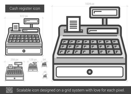 Kasa ikona rejestru wektor linii samodzielnie na białym tle. Ikona kasy bankowej dla infografiki, witryny lub aplikacji. Skalowalna ikona zaprojektowana w systemie siatkowym.
