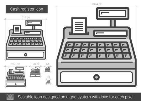 Kassen Vektor Linie-Symbol auf weißem Hintergrund. Kassen Linie Symbol für Infografik, die Website oder App. Scalable-Symbol auf einem Grid-System konzipiert.
