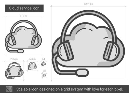 cloud service: Cloud service vector line icon isolated on white background. Cloud service line icon for infographic, website or app. Scalable icon designed on a grid system. Illustration