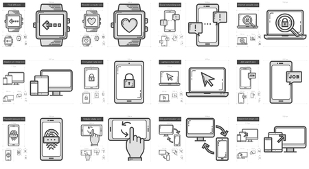 Mobility vector line icon set isolated on white background. Mobility line icon set for infographic, website or app. Scalable icon designed on a grid system. Illusztráció